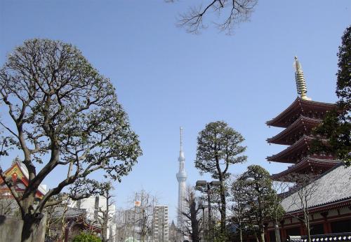浅草寺五重塔+スカイツリー