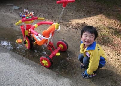 三輪車どぼん