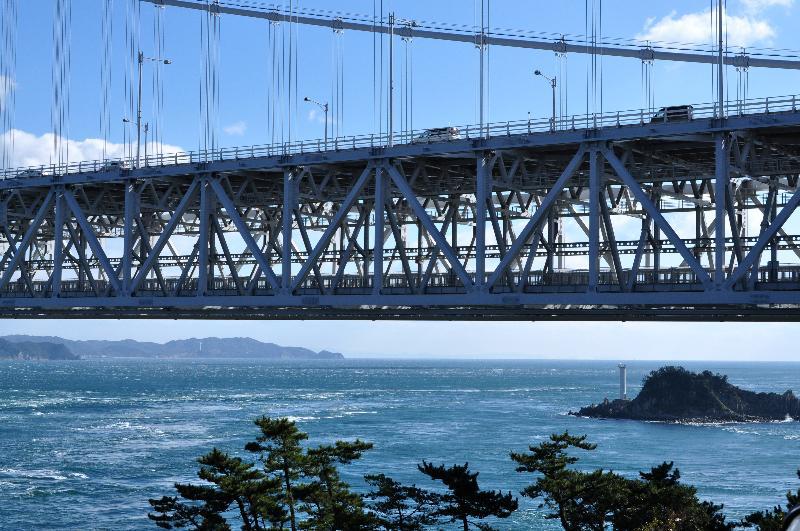 鳴門公園 相ヶ浜 大鳴門橋(渦の道)と飛島
