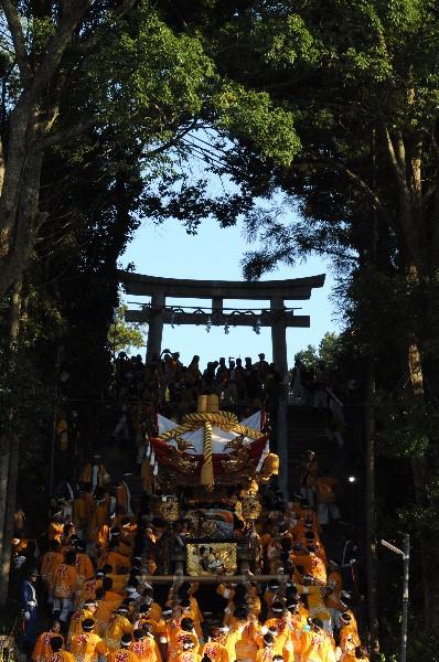 三木祭り 大宮八幡宮 石段のぼり 8基の屋台が担ぎ上げる