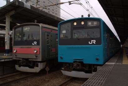 201系ケヨ52編成と205系ケヨ26編成