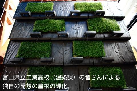 富山工業高校(建築工学科)の皆さんによる 独自の発想の屋根の緑化