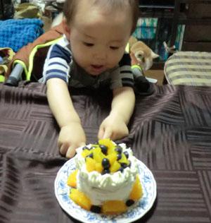 20110801誕生日ケーキとharu1
