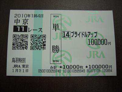 日曜中京11Rの的中馬券。勝ち馬ブライドルアップ(3.1倍)の単勝に10万
