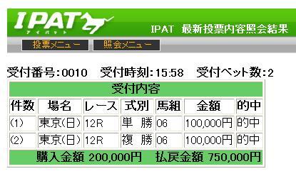 東京12RのIPAT的中馬券。⑥ケイアイプラウドの単複を10万円購入