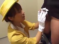 【無修正】エレベーターガールに白手袋で手コキされたい!