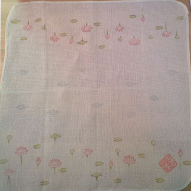蓮の花の判子布巾