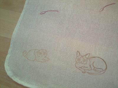 ご近所にゃん布巾のアップ