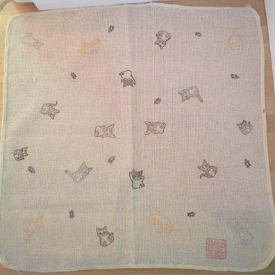 福招喜猫判子布巾