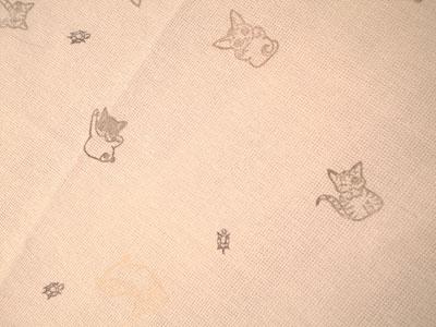 福招喜猫判子布巾のアップ