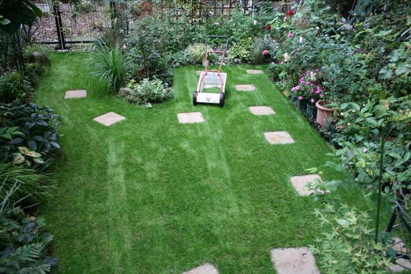 芝庭の踏み石設置完了