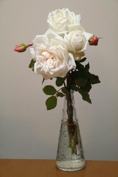 新雪の生け花