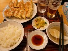 ダブル餃子定食、グラスビール