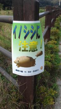 岩舟運動公園111002-イノシシ看板
