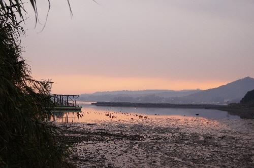 有明海に沈む夕日