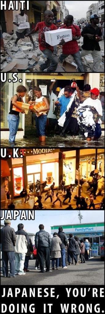 被災した時の日本と各国との露骨な違い