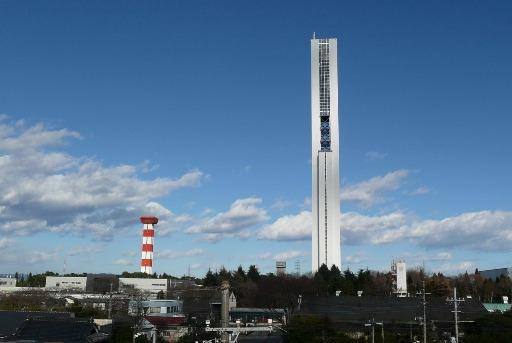 完成した世界一のエレベーター試験塔