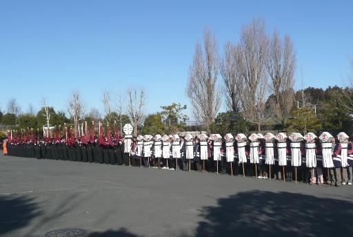 整列する消防関係者