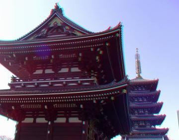 アナグリフ 宝蔵門と五重塔