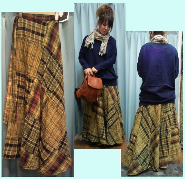 マドラスチェック巻きスカート