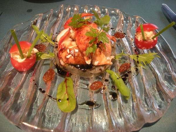 ル・プティ・ブドン オマール海老の薄切り ナスのキャビア見立て添え バルサミコ風味