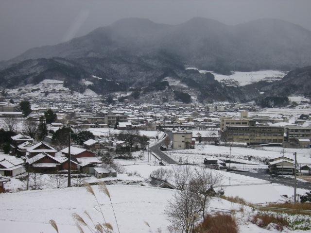 雪の市街を望む115