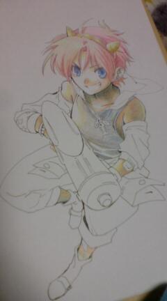 色鉛筆でゴリゴリ塗っております。