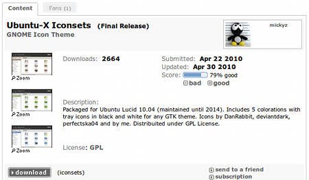 Ubuntu-X Iconsets デスクトップテーマ アイコンテーマ ダウンロード
