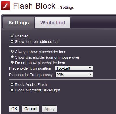 Flash Block Chrome拡張機能 オプション設定