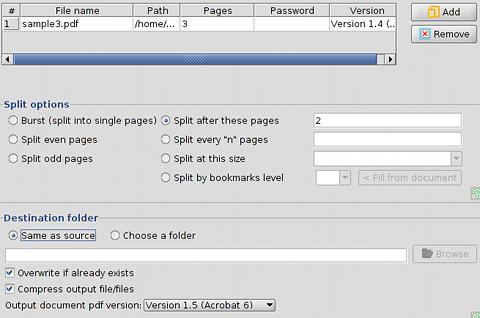 PDFsam PDF分割 分割の設定