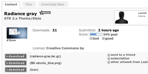 Radiance gray Ubuntu デスクトップテーマ ダウンロード