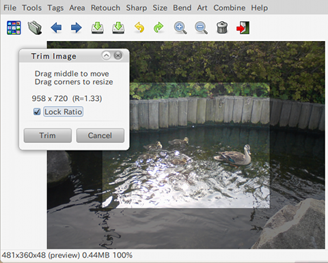 Fotoxx Ubuntu 画像編集ソフト トリミング