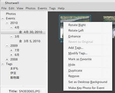Shotwell Ubuntu 画像ビューア アルバムの表示
