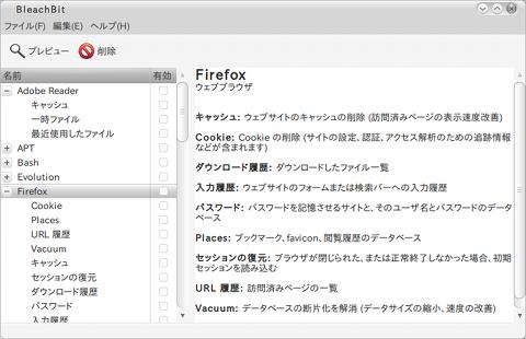 BleachBit Ubuntu ディスク管理ツール