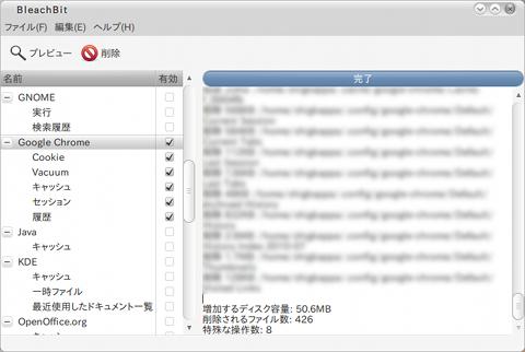 BleachBit Ubuntu ディスク管理ツール 削除ファイル一覧