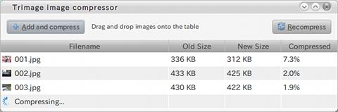 Trimage image compressor Ubuntu JPG PNG 画像圧縮