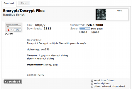 Encrypt-Decrypt Files Nautilusスクリプト ダウンロード