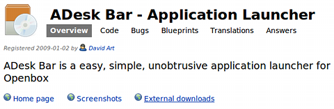 ADeskBar Ubuntu ランチャー debパッケージ