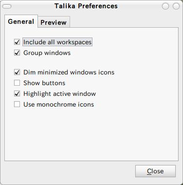 Talika applet Ubuntu パネルアプレット ウィンドウオプション