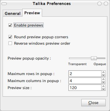 Talika applet Ubuntu パネルアプレット プレビューウィンドウ