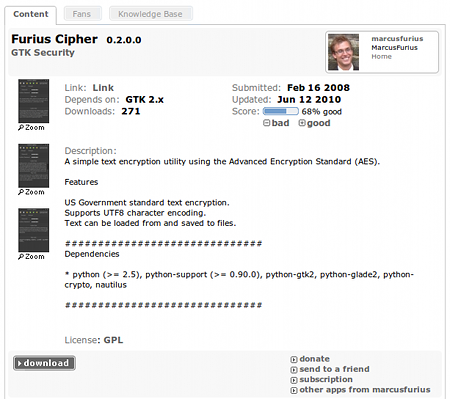 Furius Cipher Ubuntu セキュリティ 暗号化 ダウンロード