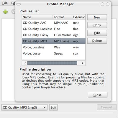 Gnac Ubuntu 音楽変換 プロファイルの編集