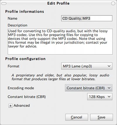 Gnac Ubuntu 音楽変換 MP3 プロファイル編集