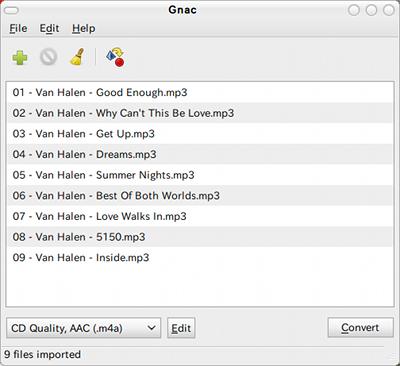 Gnac Ubuntu 音楽変換 ファイルの選択