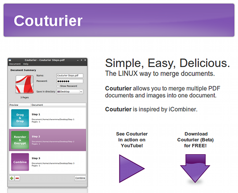 Couturier Ubuntu PDF結合 PDFパスワード