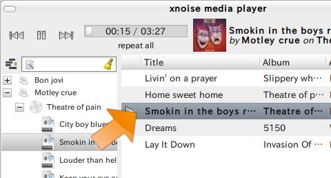 xnoise Ubuntu 音楽プレイヤー トラックリストの作成