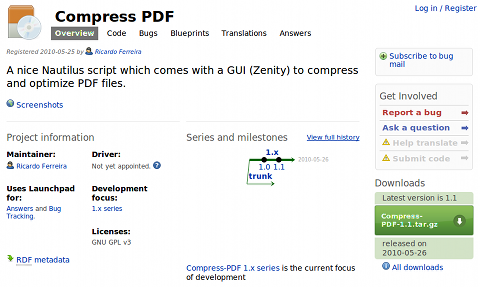 Compress PDF Nautilusスクリプト ダウンロード