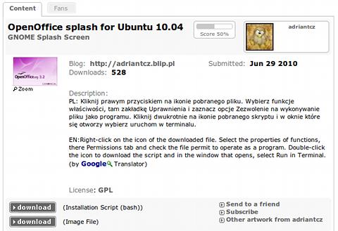 OpenOffice splash for Ubuntu 10.04 スプラッシュスクリーン ダウンロード