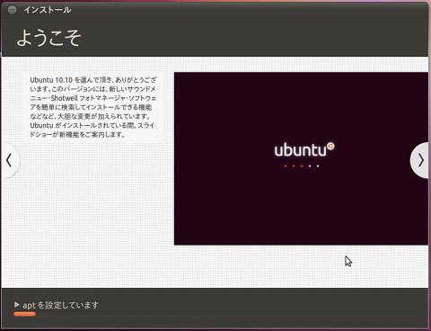 Ubuntu 10.10 インストール システムのインストール