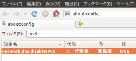 Ubuntu 10.10 Firefox IPv6 無効化